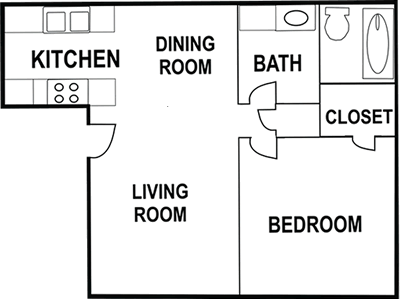 One Bedroom / One Bath - 750 Sq. Ft.*